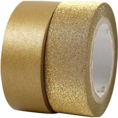 Goudkleurig glitter tape 2 rollen