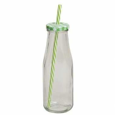 Groen/witte glazen drink flesje met rietje 400 ml
