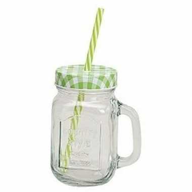 Groen/witte glazen drinkpotje met rietje 450 ml