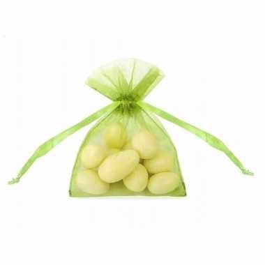 Groene organza zakjes 10 cm
