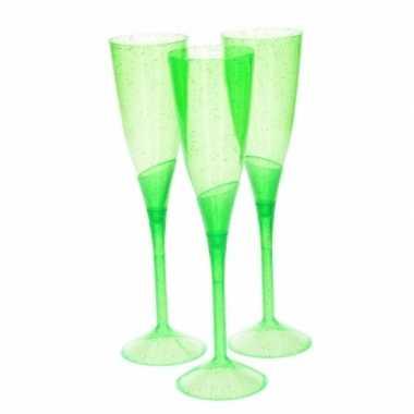 Groene plastic champagne glazen 3 stuks