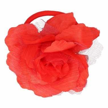 Haarbloem met klem rood
