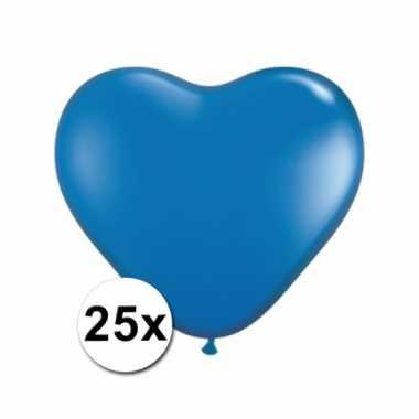 Hartjes ballonnen blauw 25 stuks
