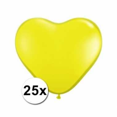Hartjes ballonnen geel 25 stuks