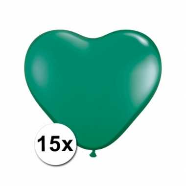 Hartjes ballonnen groen 15 stuks
