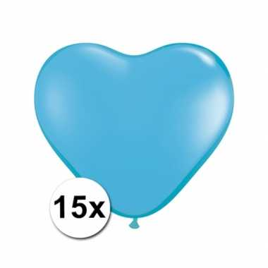 Hartjes ballonnen lichtblauw 15 stuks