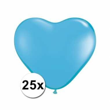 Hartjes ballonnen lichtblauw 25 stuks