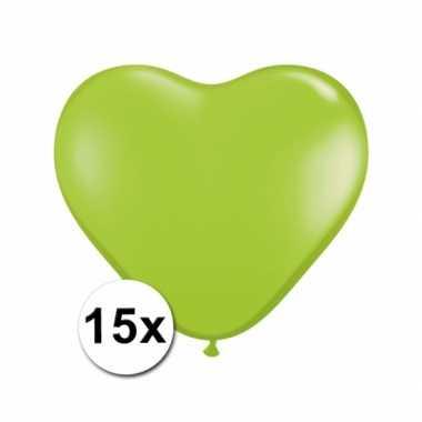 Hartjes ballonnen lime 15 stuks