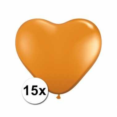 Hartjes ballonnen oranje 15 stuks