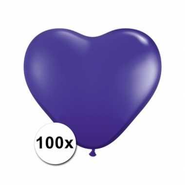 Hartjes ballonnen paars 15 cm 100 stuks