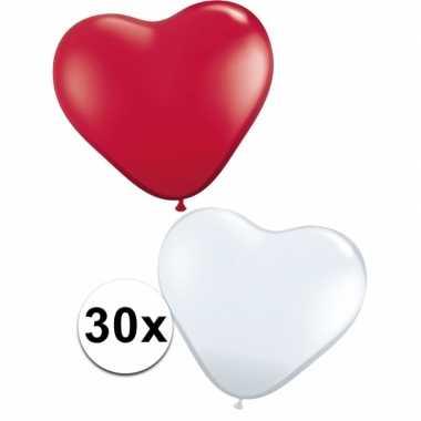 Hartjes ballonnen rood en wit 30 st