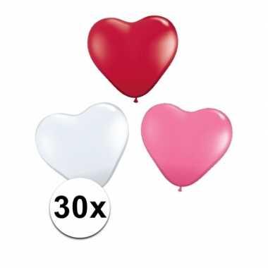 Hartjes ballonnen rood/ wit/ roze 30 st