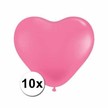 Hartjes ballonnen roze 10 stuks
