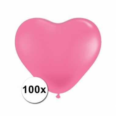 Hartjes ballonnen roze 15 cm 100 stuks