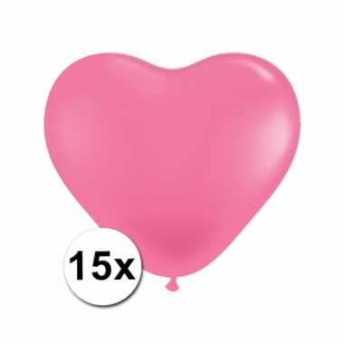 Hartjes ballonnen roze 15 stuks