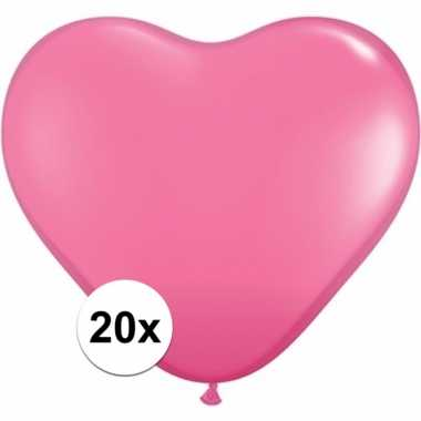 Hartjes ballonnen roze 20 stuks