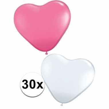 Hartjes ballonnen roze en wit 30 st