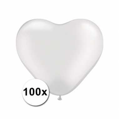 Hartjes ballonnen wit 15 cm 100 stuks