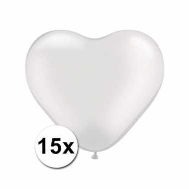 Hartjes ballonnen wit 15 stuks