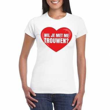 Huwelijksaanzoek t-shirt wil je met me trouwen wit dames