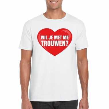 Huwelijksaanzoek t-shirt wil je met me trouwen wit heren