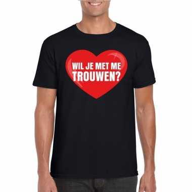 Huwelijksaanzoek t-shirt wil je met me trouwen zwart heren