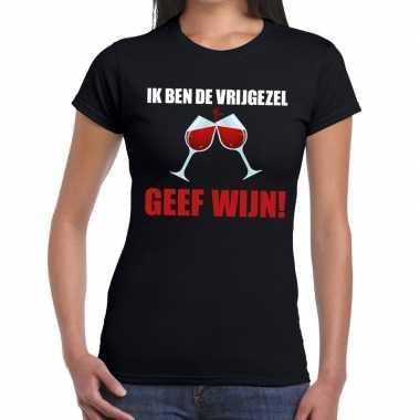 Ik ben de vrijgezel geef wijn t-shirt zwart dames