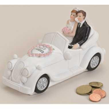 Just married trouwauto spaarpot bruiloft artikelen 16 cm