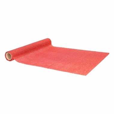 Kerst decoratie stof/tafelloper met rode glitters