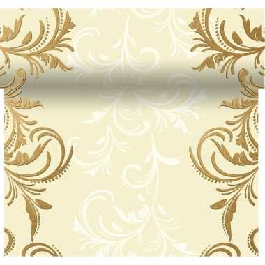 Kerst diner tafelloper 3-in-1 creme met barok print 480 x 40 cm