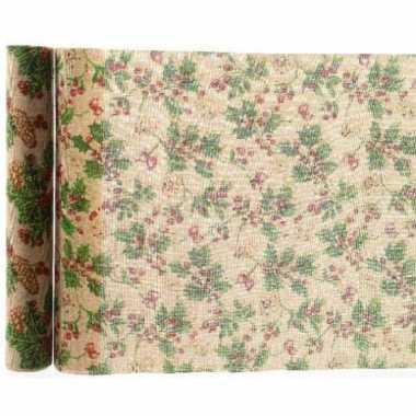 Kerst tafelloper dennenappel 35 x 200 cm