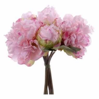 Kunst bruidsboeket roze pioenrozen 25 cm