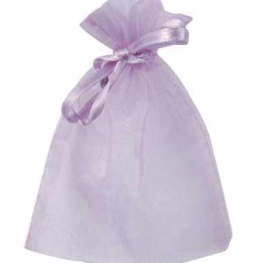 Lila paarse organza zakjes 6 stuks