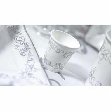 Luxe bekertjes zilver 8 stuks