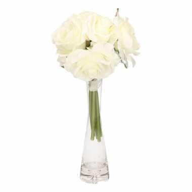 Luxe boeket cremekleurige rozen met glazen vaas
