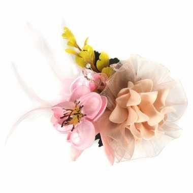 Luxe haarbloem met klem roze/geel