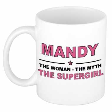 Mandy the woman, the myth the supergirl cadeau koffie mok / thee beker 300 ml
