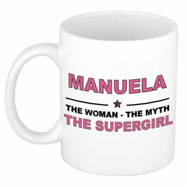 Manuela the woman, the myth the supergirl cadeau koffie mok / thee beker 300 ml