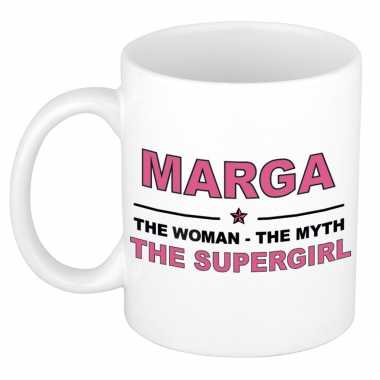 Marga the woman, the myth the supergirl cadeau koffie mok / thee beker 300 ml