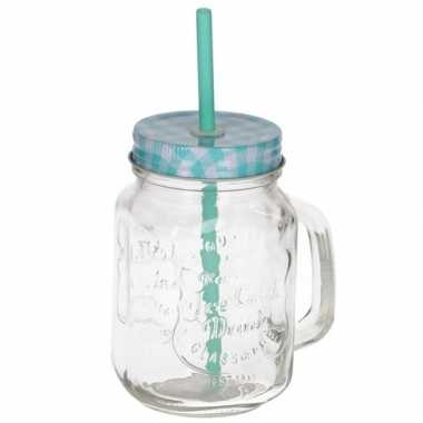 Mason jar/smoothie beker blauw met rietje 500 ml