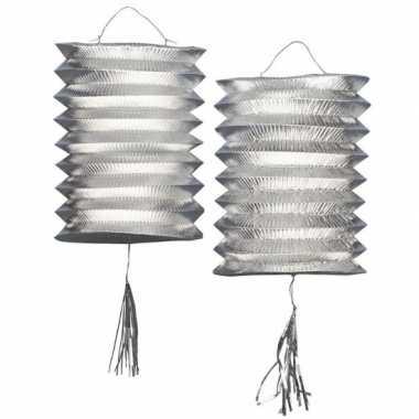 Metallic zilveren lampion 2 stuks