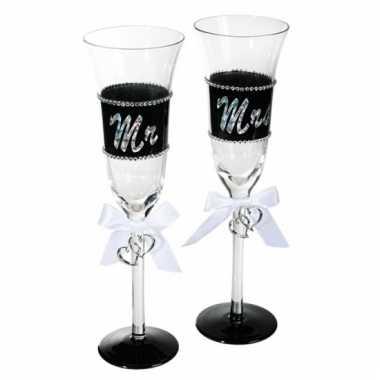 Mr & mrs champagneglas 24 cm