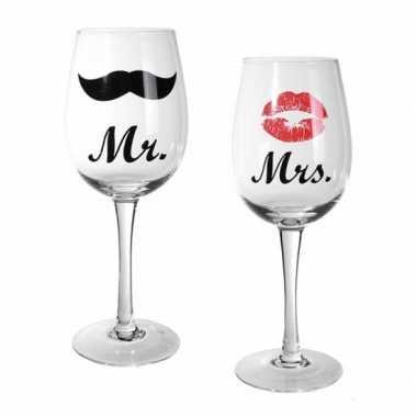 Mr & mrs wijnglazen 22,5 cm