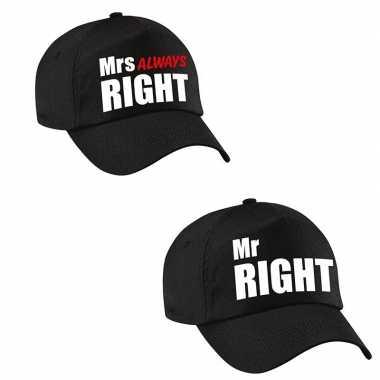 Mr right en mrs always right petten / caps zwart volwassenen