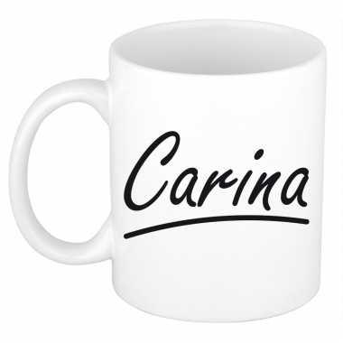 Naam cadeau mok / beker carina met sierlijke letters 300 ml