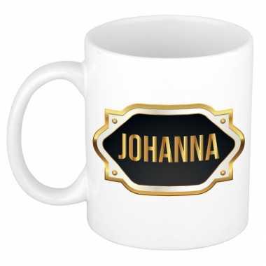 Naam cadeau mok / beker johanna met gouden embleem 300 ml