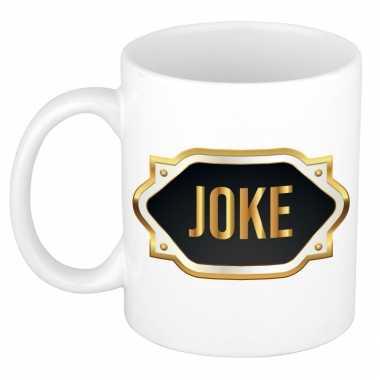 Naam cadeau mok / beker joke met gouden embleem 300 ml
