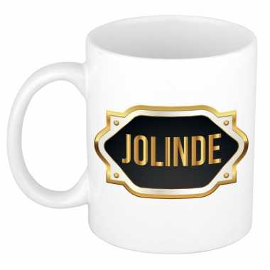 Naam cadeau mok / beker joline met gouden embleem 300 ml