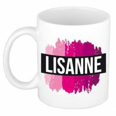 Naam cadeau mok / beker lisanne met roze verfstrepen 300 ml