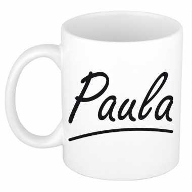 Naam cadeau mok / beker paula met sierlijke letters 300 ml